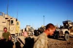 U.S. Marines from the 1st Battalion 2nd Marines prepare to leave a small base outside of Musa Qala in Helmand Province, Afghanistan. June 2010.