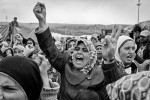 Syrian refugees protest against the Syrian government outside of their camp in Reyhanli, Turkey. March 2012.