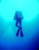 A scuba diver ascends inside the Blue Hole in Dahab, Egypt. The Blue Hole is notorious for the number of diving fatalities which have occurred there, earning it the sobriquet