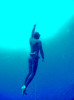 A free diver ascends inside the Blue Hole off the coast of Dahab, Egypt. The Blue Hole is notorious for the number of diving fatalities which have occurred there, earning it the sobriquet