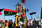 Libyans celebrate in Martyr's Square (formerly known as Green Square) in Tripoli, Libya. September 2011.