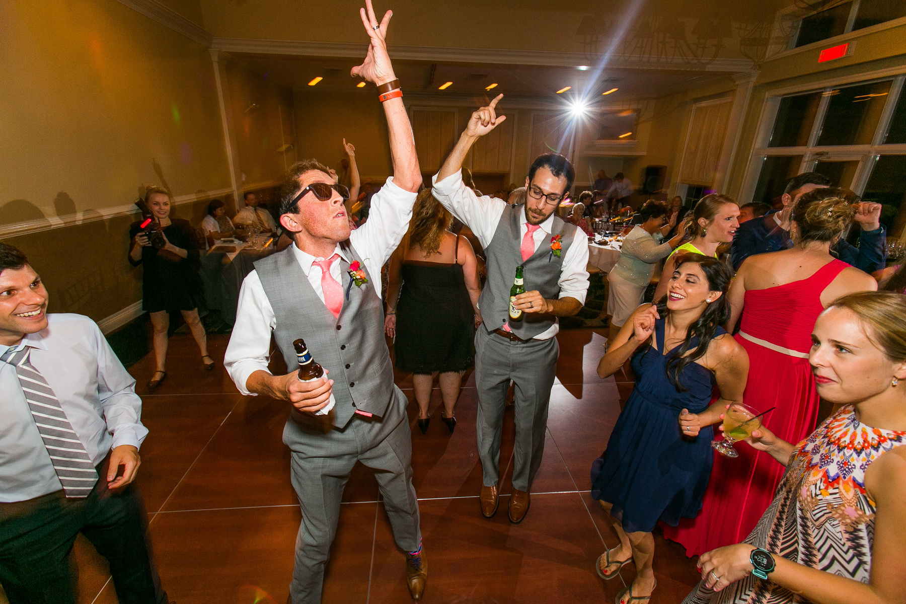 Guests dance during a wedding at The Piedmont Club in Haymarket, Va