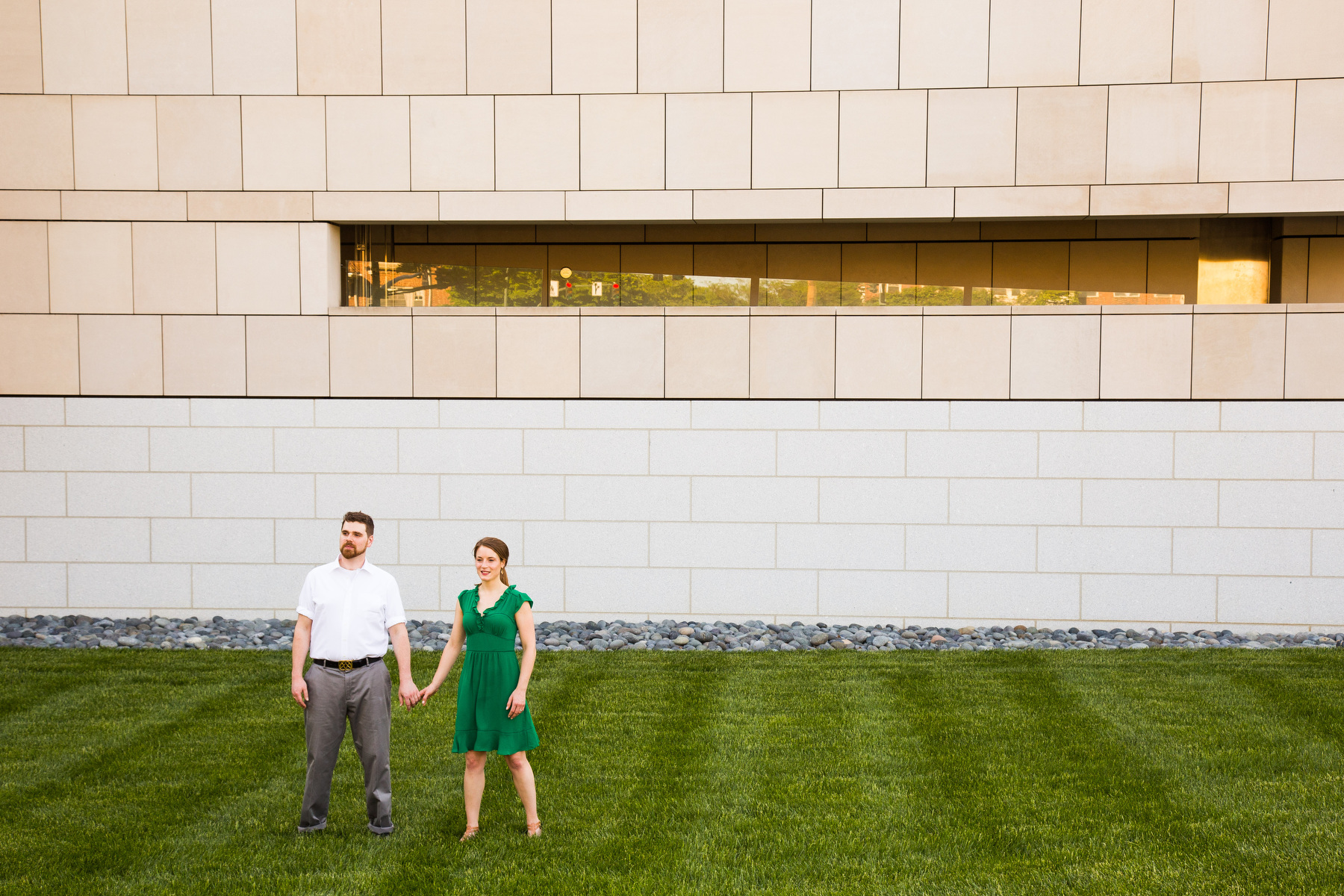 Engagement portraits of a bride and groom to be at The VMFA in Richmond, VA