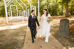 A bride and groom just after their wedding ceremony at The Historic Pole Green Church in Mechanicsville, VA