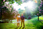 A bride and groom during their engagement portrait session around Libbie Hill Park in Richmond, VA