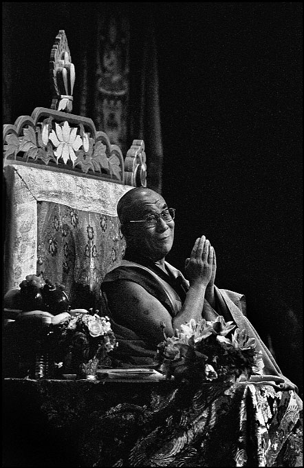 At the Los Angeles Sports Arena, the 14th Dalai Lama gives his commentary about Atisha's Lamp for the Path to Enlightenment, an 11th century text by Lama Atisha.