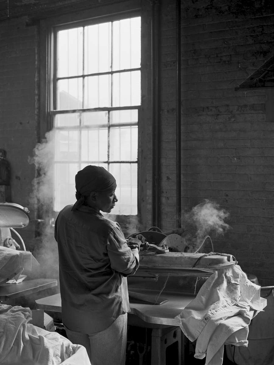 Wing Gong Wetwash, Greenpoint Brooklyn, 1981.A wet wash was a factory size laundry, often with  a multicultural workforce. It had its roots in the exclusion of Chinese Americans from many occupations.