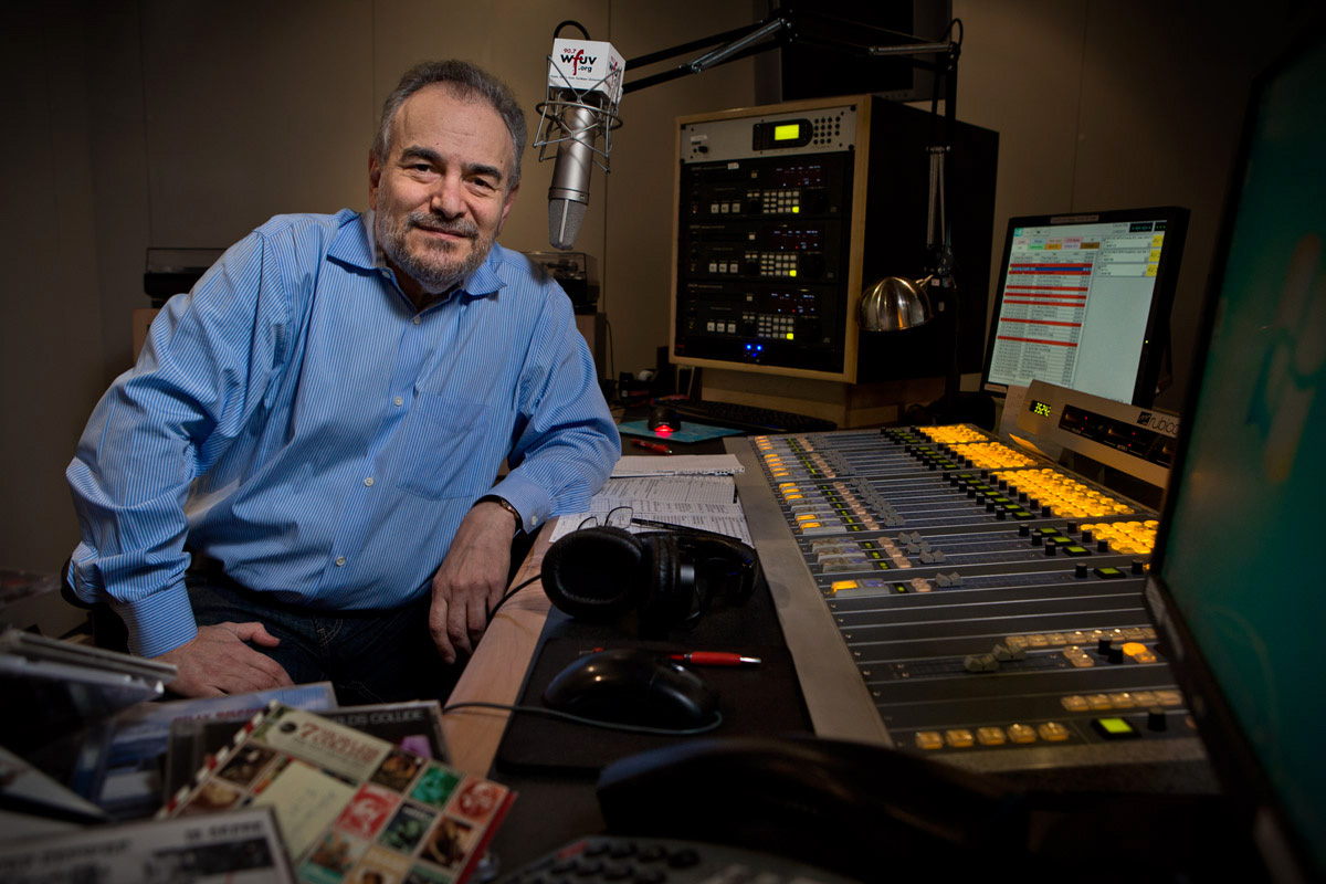 Pete Fornatale in the studio at WFUVFordham UniversityFordham Magazine