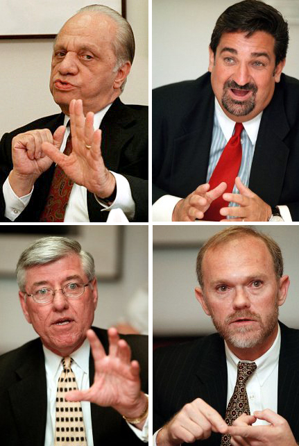 Clockwise from top left:  Peter Angelos, Baltimore Orioles team owner; Ted Leonsis, Washington Capitals team owner; Bill Schrader, CEO of PSINet; Dick Brown, CEO of EDS.