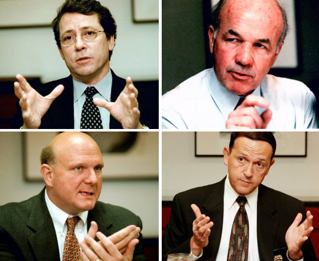 Clockwise from top left:  Real estate mogul Joe Robert; Kenneth Lay, Chairman of Enron Corporation; John S. Farrell, PG County Police Chief; Steve Ballmer, CEO of Microsoft.