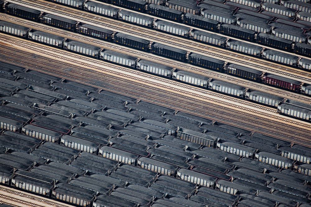 Loaded Coal Cars in Train Yard, Newport, Virginia 2011 (110430-0452)