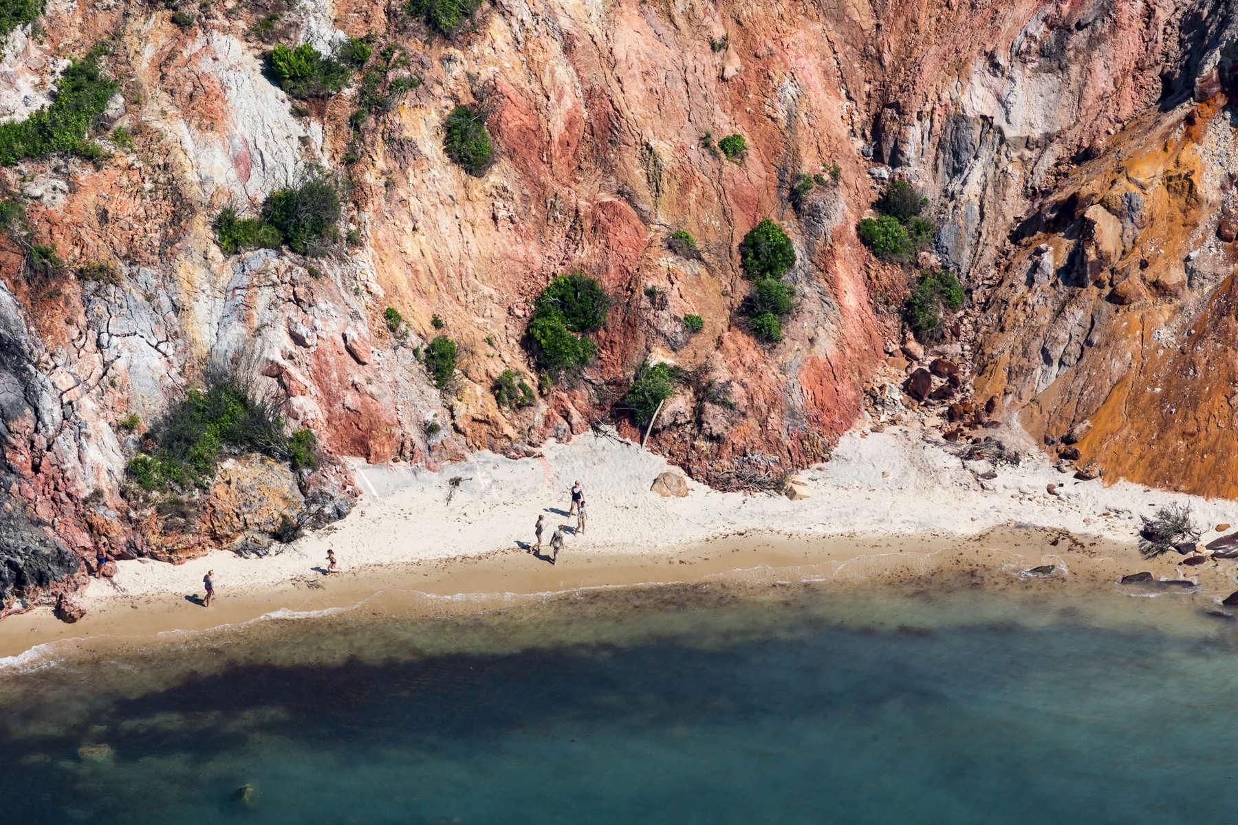 Clay Cliiffs meet Sandy Beach, Aquinnah, MA 2013 (130717-0063)dune, cliff, red, clay, white, blue, ocean, swim, summer, new england, island, nantucket, marthas vineyard, beach, water