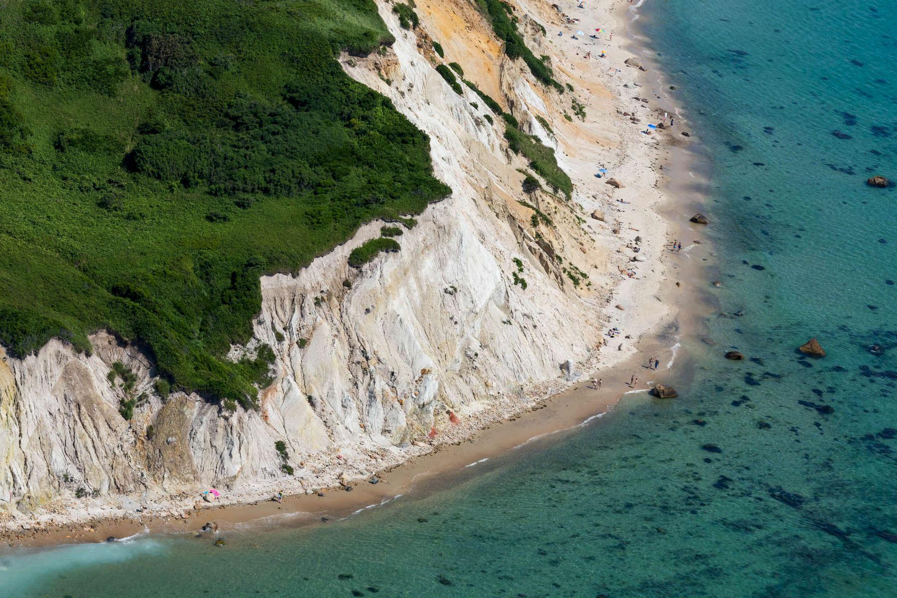 Eroding Clay Cliffs Undercut Topside Vegetation, Aquinnah, MA 2013 (130717-0075)beach, erosion, water, sea, ocean, sand, dune, cape cod, nantucket, marthas vineyard, new england, blue, green