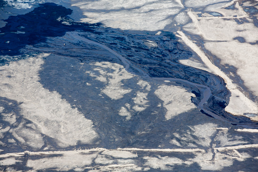 Oil Sheen Along Rivulets of Tailing Pond, Alberta, Canada 2014 (140407-0631)