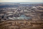 Terraces of Open Pit Mining at Suncor Millenium Mine, Alberta, Canada 2014