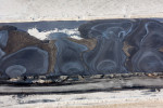 Fans of Oil from Spill Pipes, Syncrude Mildred Lake, Alberta, Canada 2014 (140915-0250)