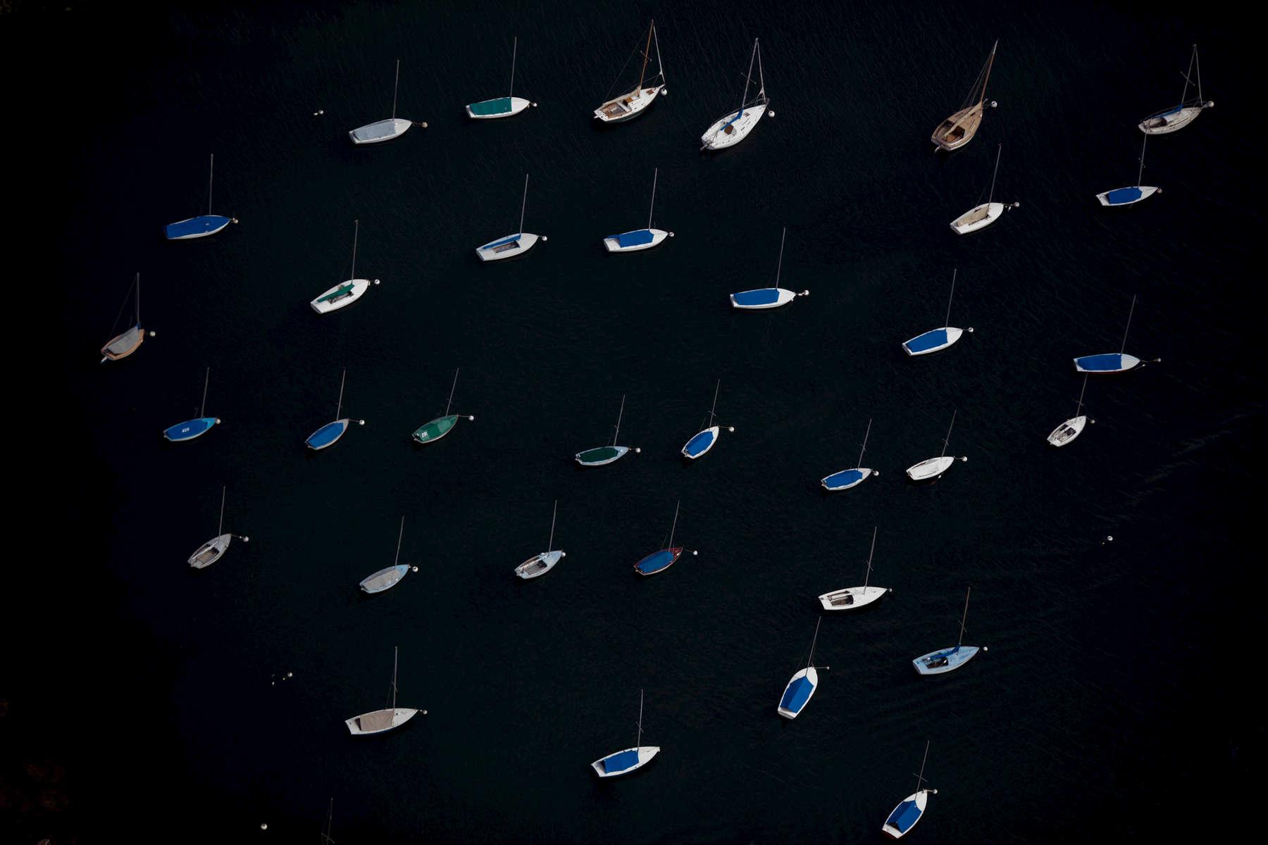 Sailboats on Moorings, Rockport, Massachusetts 2018 (180901-0259)