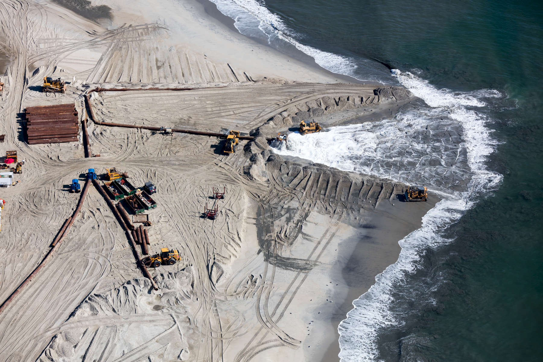 Beach Sand Nourishment Coming From Offshore, Howell, New Jersey 2018 (180904-0124)