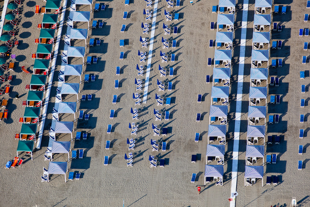 Blue Striped Tent Tops, Cesenatico, Italy 2010 (100604-0651)