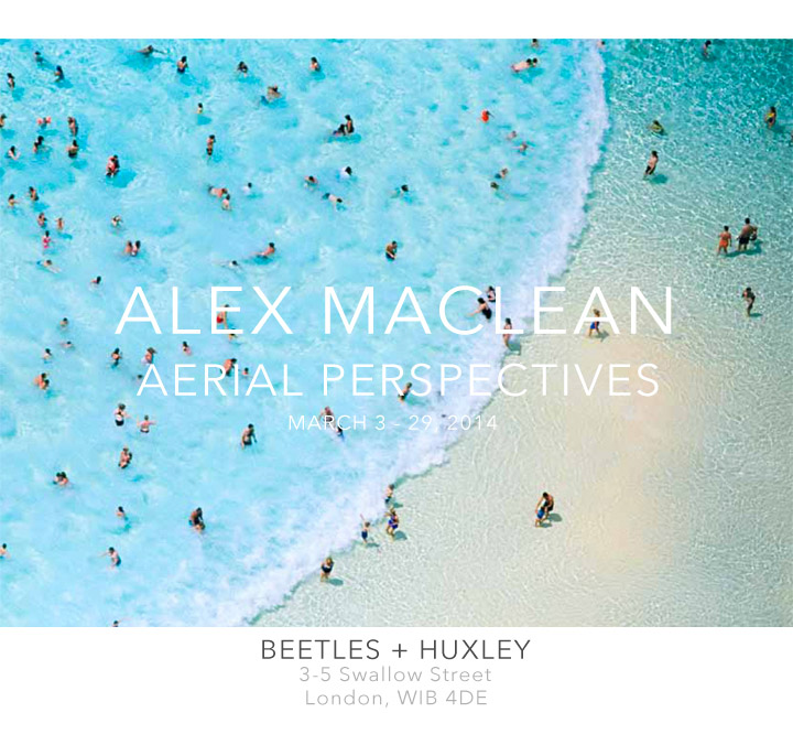 Aerial PerspectivesMarch 3 - 29, 2014WEBSITE{quote}An artist with a unique perspective - Alex MacLean takes us out of the streets and into the skies, reducing humanity down to the size of a model. A fully licensed pilot, MacLean uses his highly efficient Cessna 182 carbon fibre aeroplane to explore the world recording landscapes, architecture and human behaviour from a bird's eye view. The resulting photographs are thought provoking, yet beautiful, an investigation into humanity's footprint on the natural world. Farming patterns, coastal resorts, military sites and bizarre housing developments are just some of the poignant scenes featured in MacLean's first ever London show.{quote}
