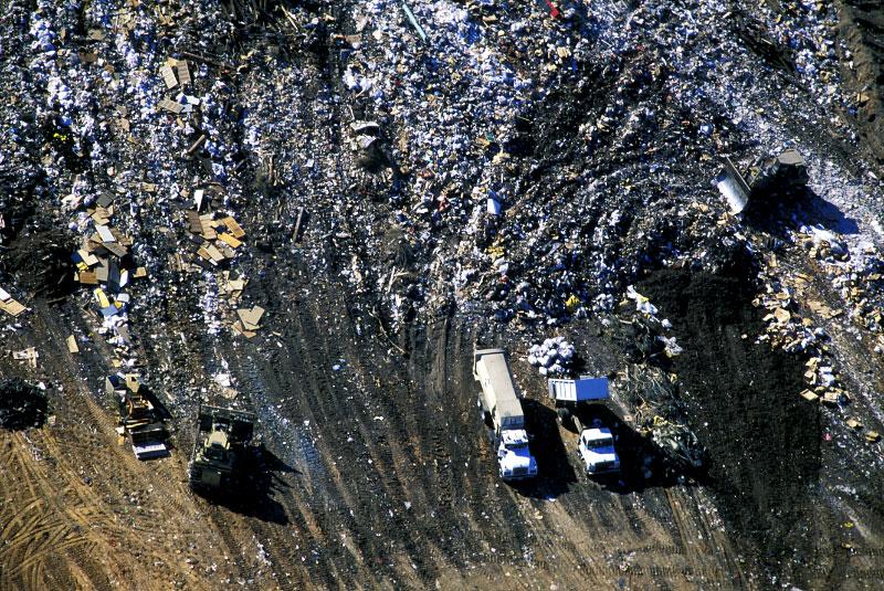 Garbage Truck Dumping Trash