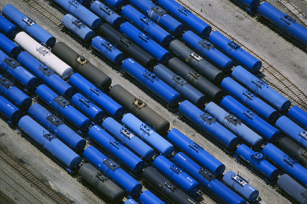 <b>Blue Tankers in Train Yard</b>Wheeling, West VirginiaRef #: LS_5205_11