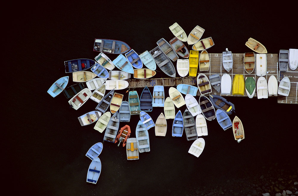 Dinghies Clustered Around Dock, Duxbury, Massachusetts (LS_5249_13)