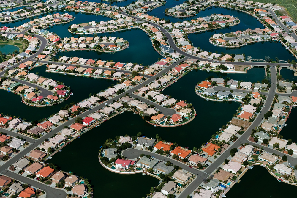 Suburban Communities With Man Made Lakes Interchange