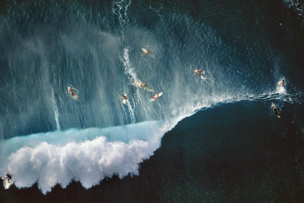 Surfers Behind Breaking Waves at Sunset Beach, Oahu, Hawaii (LS_6556_29)