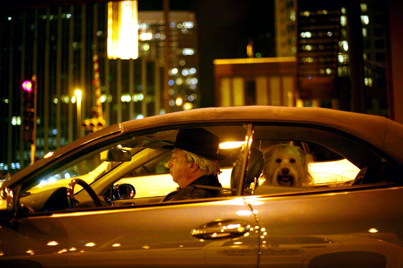 A man and his dog go for a late night ride on Lower Wacker Drive in downtown Chicago.