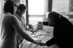 A few days before Frances died, Ellen was joined by her sister and a friend for a bedside prayer.