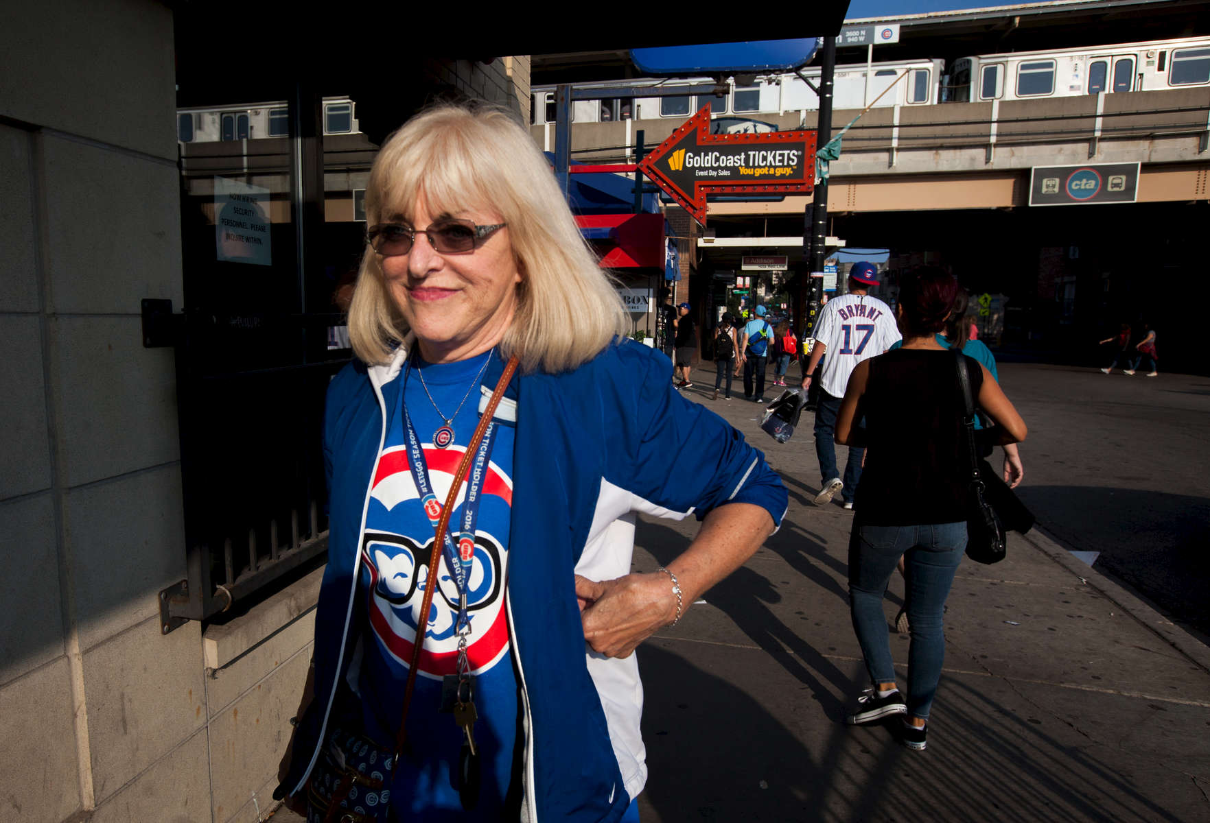 Chicago Cubs fans fill the sidewalks outside of Wrigley Field after Saturday's game against the St. Louis Cardinals.