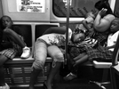 Famliy nap on the el train, Chicago