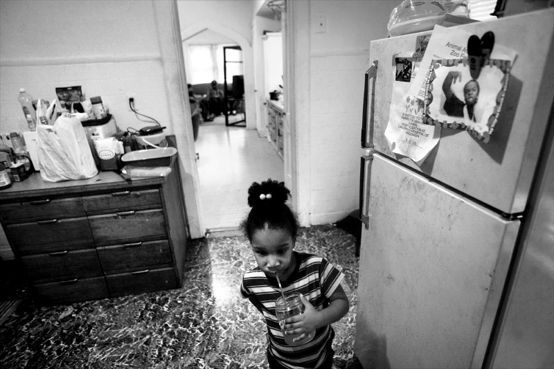 Adriana, 3, lives with her mother and siblings in an apartment on Milwaukee's north side. Adriana's mother, Shakima H., has been evicted from housing in the past.