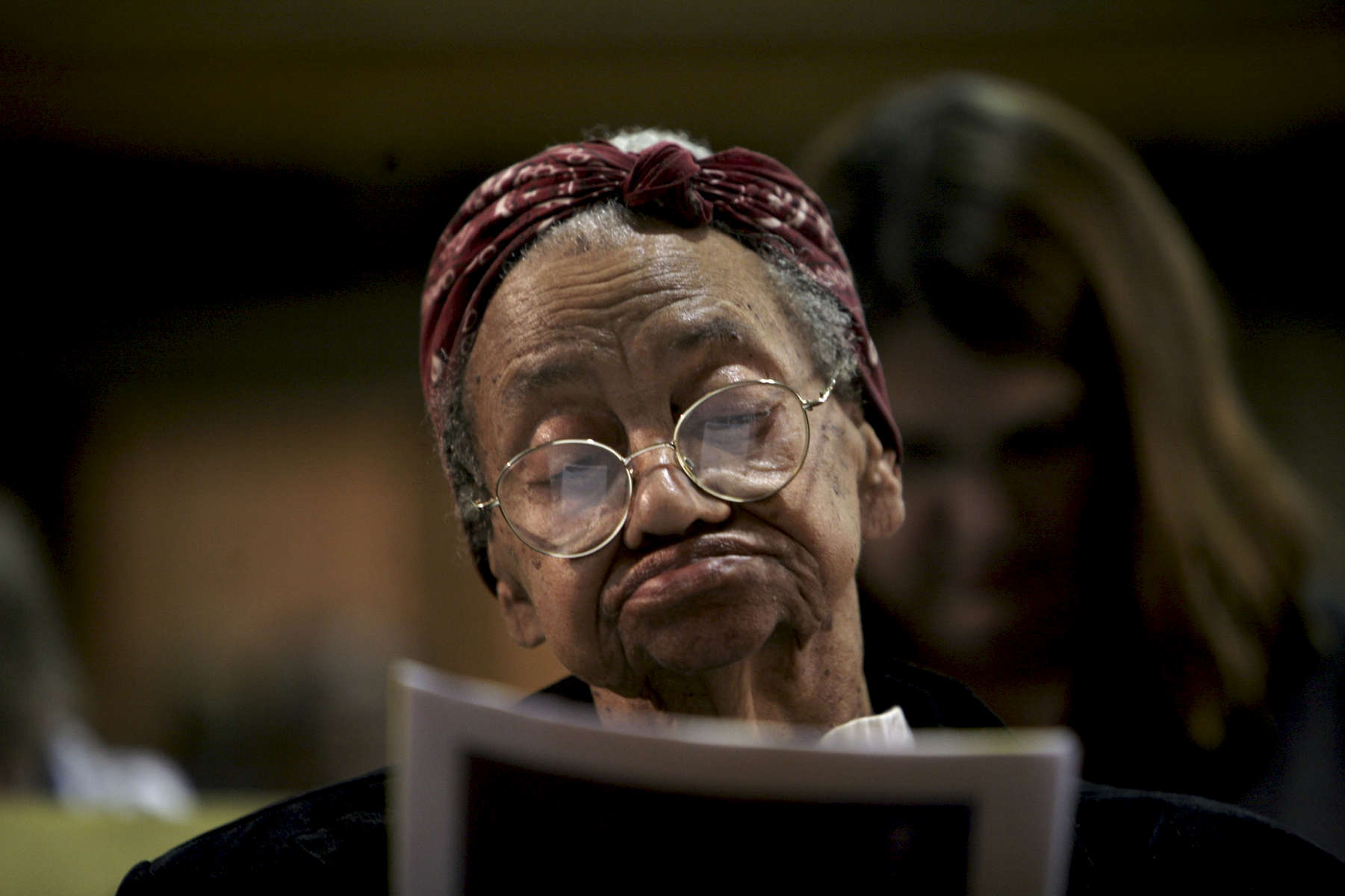 LueDella Burgess, 82, has lived in Chicago's Austin neighborhood since 1946. The west side neighborhood and bordering suburbs of Maywood and Oak Park have seen hundreds of homes boarded up due to foreclosure. Ms. Burgess attended a meeting of community members and representatives of US Bank to address the issue.