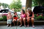 kids, sidewalk, ice cream, cone, lick, family, dessert