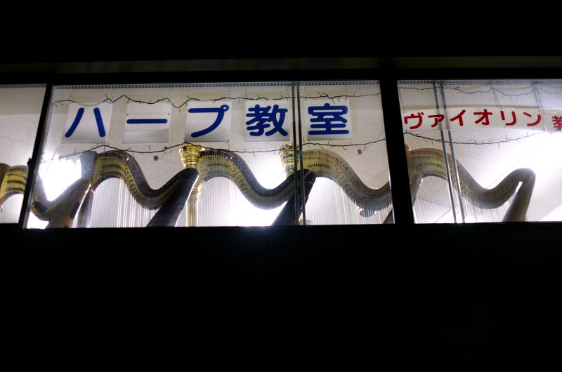 Tokyo, Japan, harps, upstairs, night, signs, music, sale