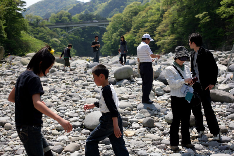 Japan, tourists, rocks, valley, river, mountains, trees, family, kids, parents, day
