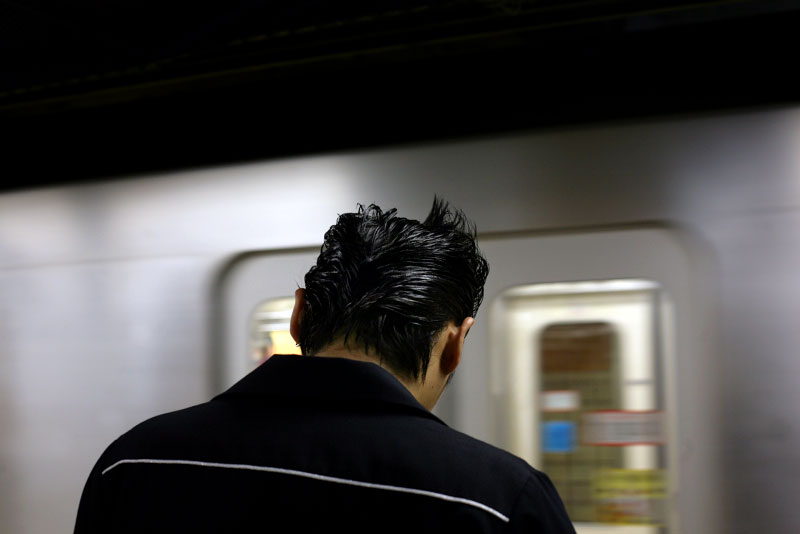 Japan, subway, platform, hairstyle, rockabilly, music, hip, stylish, western shirt, train