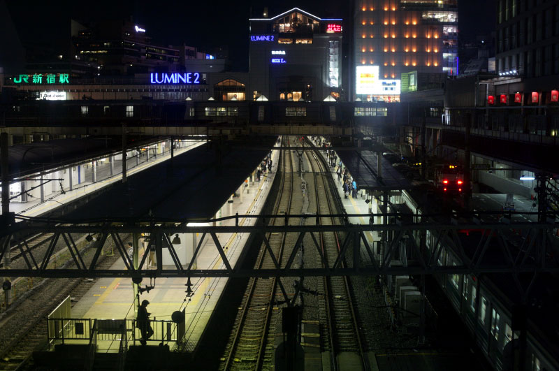 Japan, train, night, neon, lights, silhouette, railroad