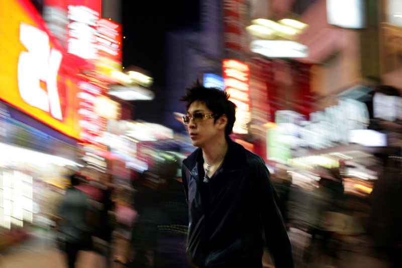 Japan, neon, lights, night, man, sunglasses, leather, jacket, crowd, street
