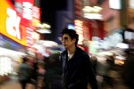 Japan, neon, lights, night, man, sunglasses, leather, jacket, crowd, street