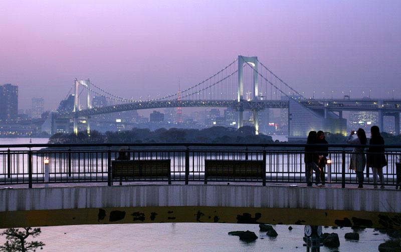 bridge, tourist, evening, water, Odaiba, Tokyo, Japan, Rainbow bridge, rainbow, lights, sunset, skyline