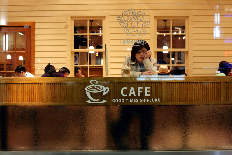 Shinjuku, Tokyo, Japan, cafe, sleep, girl, tired, night, restaurant, drink, coffee