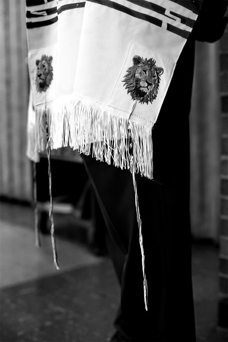 African lions adorn a prayer shawl.