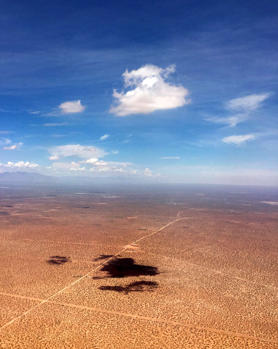 Descending into El Paso, Texas. After landing, travelers to Marfa must make a three-hour drive east into the heart of high desert terrain in West Texas.