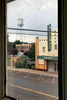 The iconic water tower and old Palace theater as viewed from the Hotel Paisano. The hotel is famous for having housed Elizabeth Taylor, Dennis Hopper, Rock Hudson and other cast and crew of the movie {quote}Giant,{quote} which was filmed near Marfa in 1955.