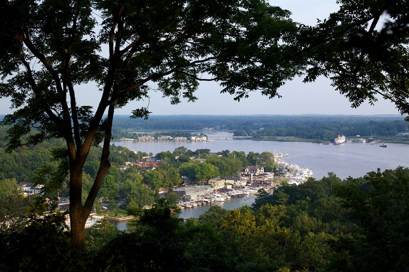 A view of Kalamazoo Harbor in Saugatuck, Michigan from Mt. Baldhead.