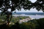 A view of Kalamazoo Harbor in Saugatuck, Michigan from Mt. Baldhead.