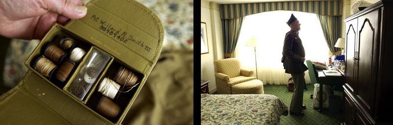 veteran, uniform, WWII, soldier, Europe, America, americana, sewing kit, hotel, reunion